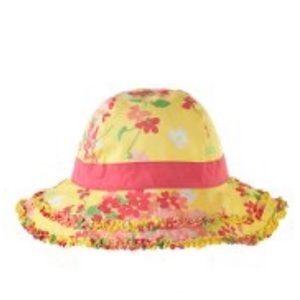 "New Janie & Jack Sun Hat ""Vibrant Garden"" sz 4T-5T"